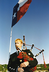 Hylton Playing Bagpipes in Texas